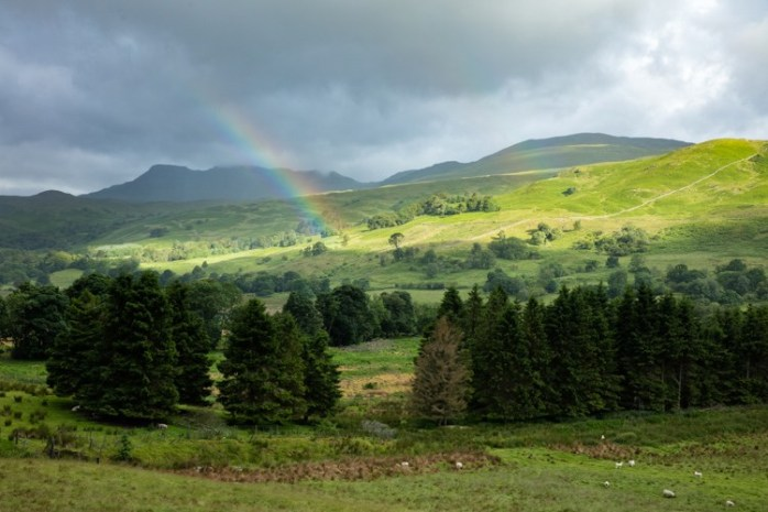 Rainbow over Crianlarich, Trossachs National Park, Scotland