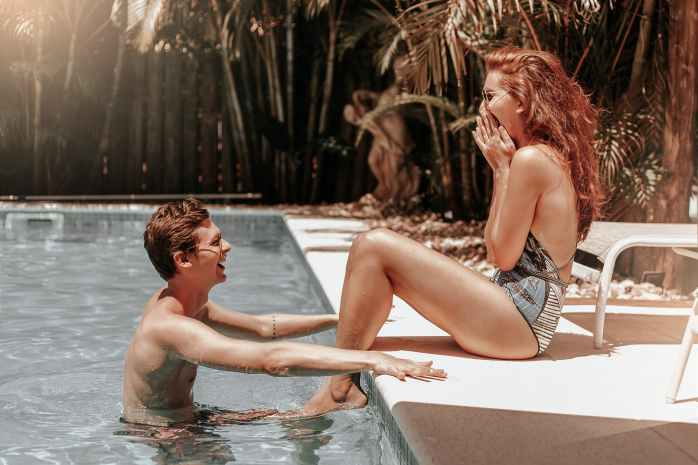 couple at the swimming pool